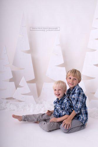 Brüder lächeln im handgemachten Weihnachtssetup in die Kamera