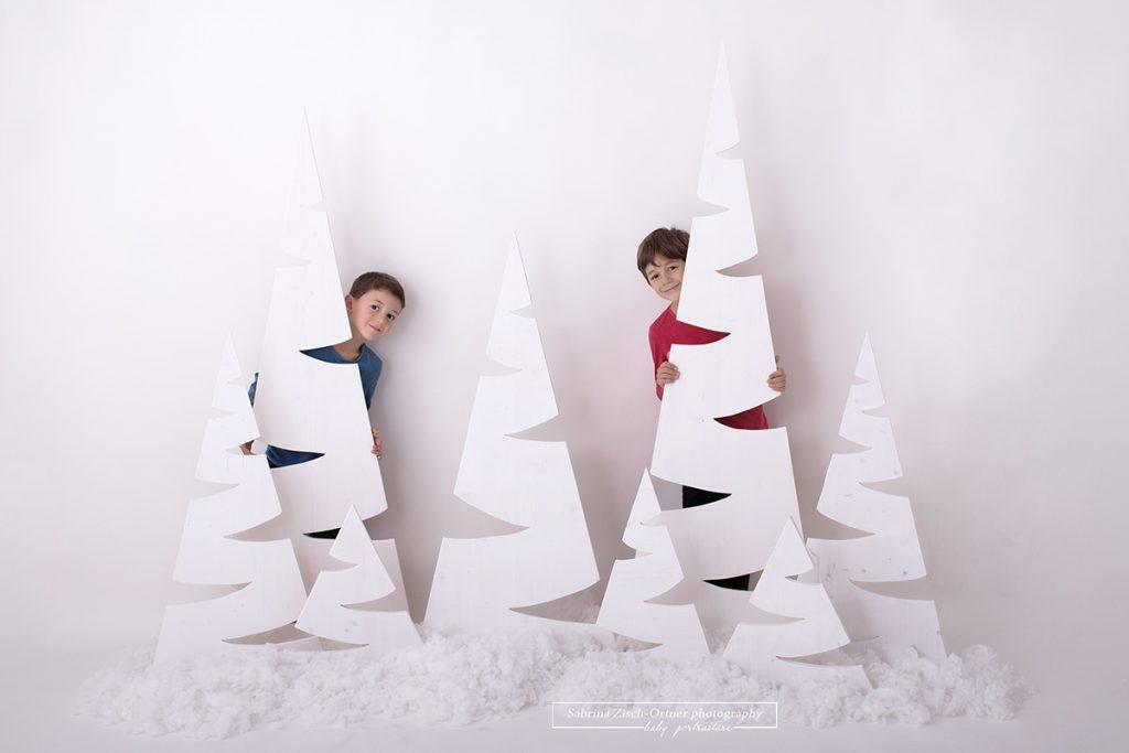 Ein Foto für Weihnachten bei welchem sich die zwei Burschen hinter den selbstgemachten schlichten, aber sehr eleganten in weiss gestrichenen Weihnachtsbaeumen verstecken und freudig hervorgrinsen.