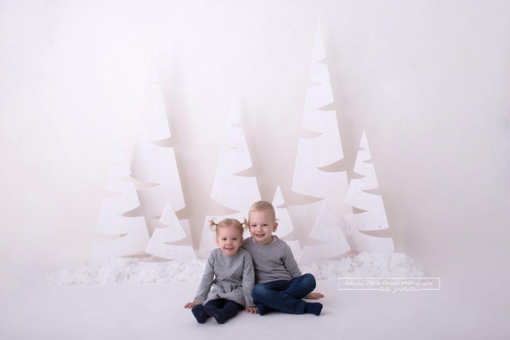 kleinen Geschwister in grau gekleidet vor einem Weihnachtswald  mit 8 per Hand ausgeschnittenen Weihnachtsbäumen, welche ein wenig in Schnee gehüllt sind.