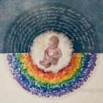 Neugeborenes in einem Kreis aus Regenbogenfarben
