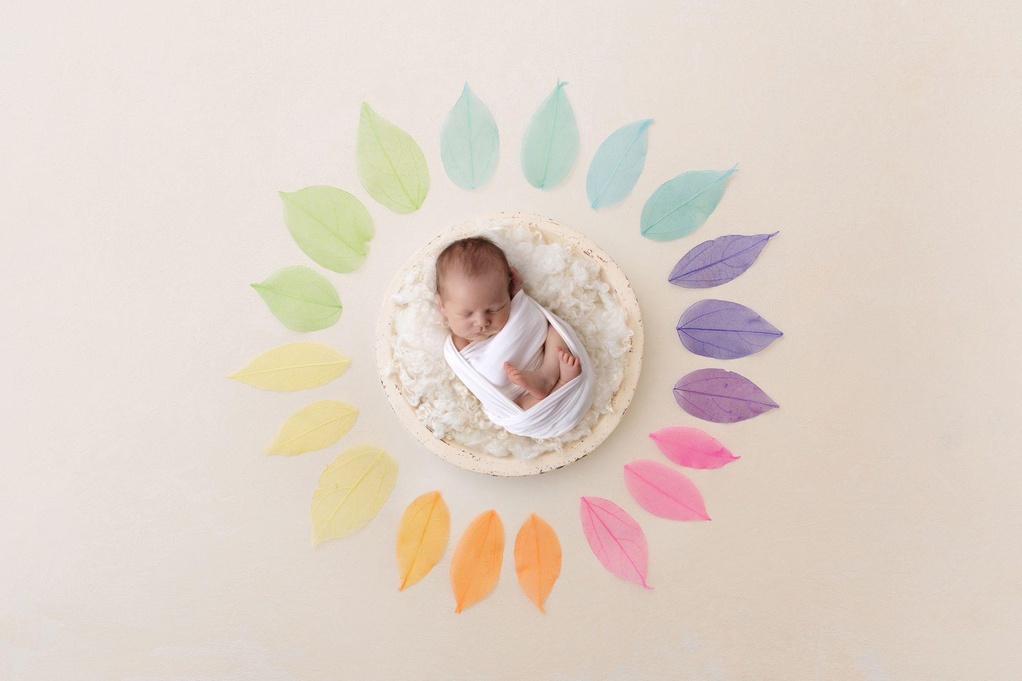 Baby umhüllt von Blättern in Regenbogenfarben als Titelbild für Regenbogen Galerie