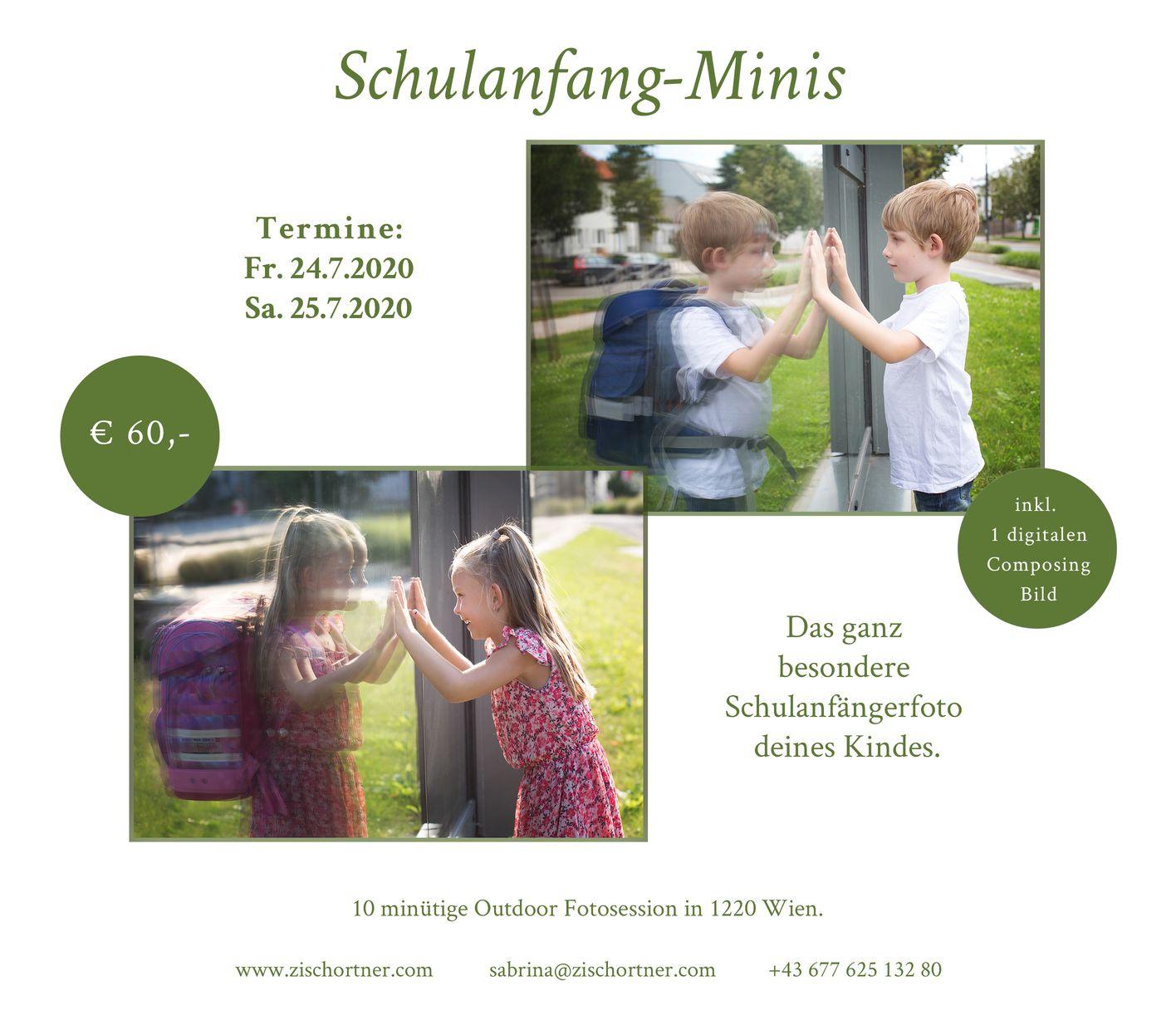Schulanfang Minisession mit Schultasche fuer Vorschulkinder von Sabrina Zisch-Ortner