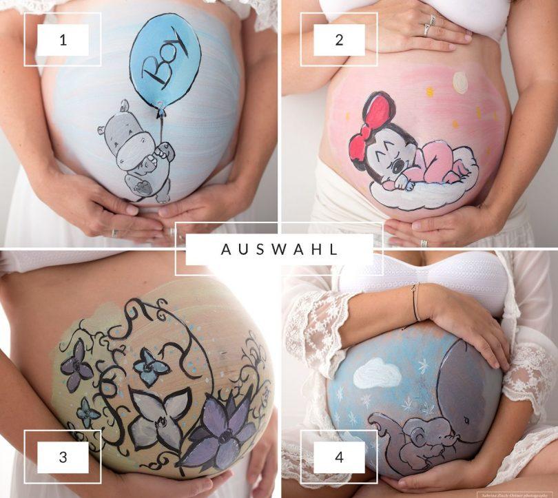 Bellypainting Babybauchbemalung Motivauswahl Nilpferd, Minnie Maus, Blumen, Elefanten