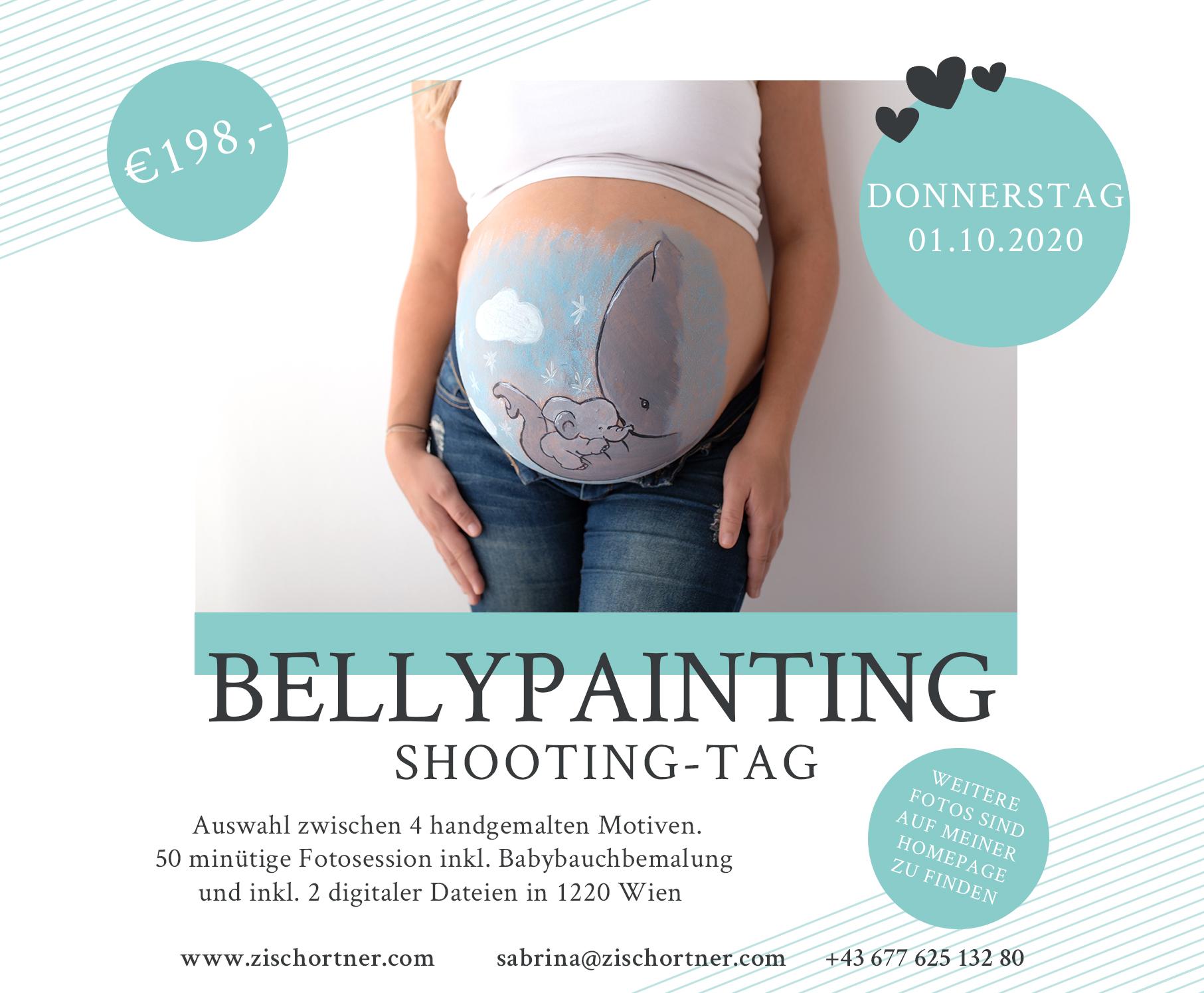 Bellypainting Shooting Babybauch Bemalung Aktion Wien von Sabrina Zisch-Ortner
