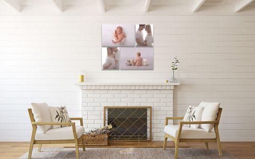 Collage von vier Leinwaenden Babybauch Neugeborenen und Baby