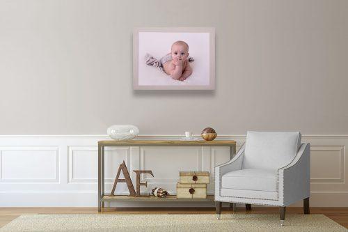 Exhibition handgefertigter Holzbilderrahmen Baby Meilensteinfoto