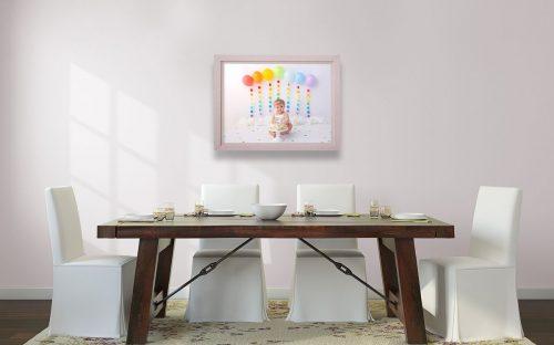 Fine Art Doppelbilderrahmen in Holzoptik mit Cake Smash Regenbogenthema