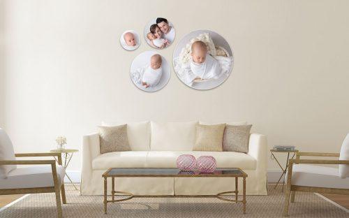 Produktangebot Nephrit Photwoll vier runde Holzfotos Photoblocks in unterschiedlichen Größen