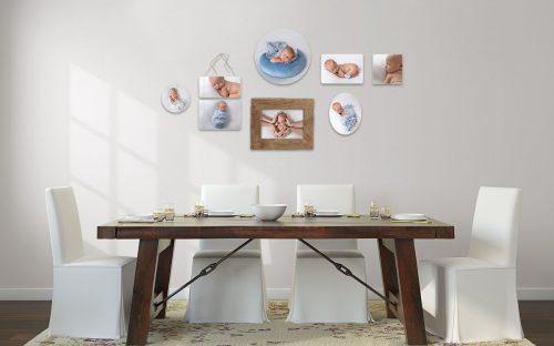 Produkt Pektolith Photowall acht Fotos auf original Holz Photoblocks gedruckt und mit Schutzlack versehen