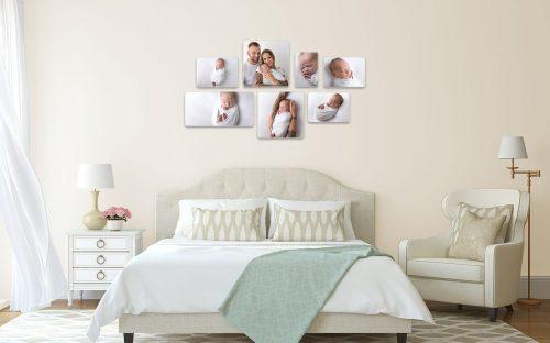 Wandgalerie Produkt Thulit Photowall sieben eckige Bilder auf Holz gedruckt