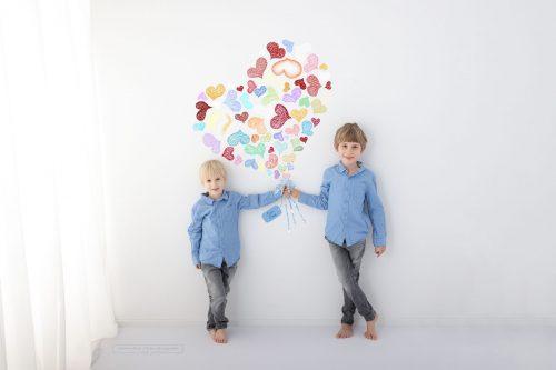 Herzblumenstrauß für die Mama als Erinnerungsfoto der eigenen Kinder
