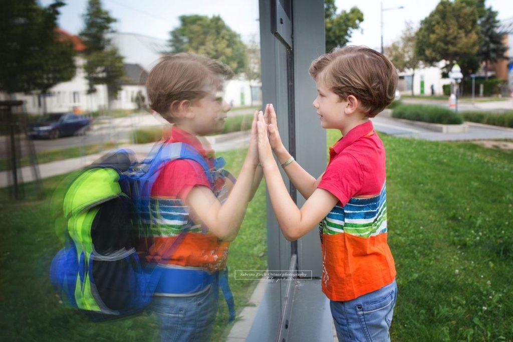 neue Lebensabschnitt der Schulanfang am Foto festgehalten